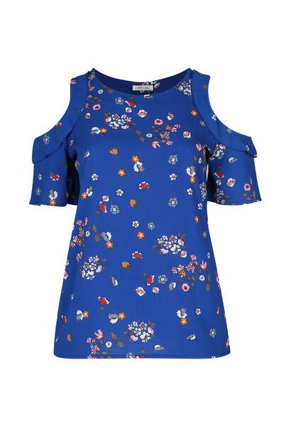 Bloes met bloemetjes en open schouders - Bic blauw