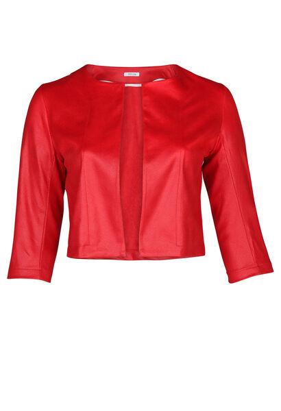 Veste courte cuir sauvage - Rouge
