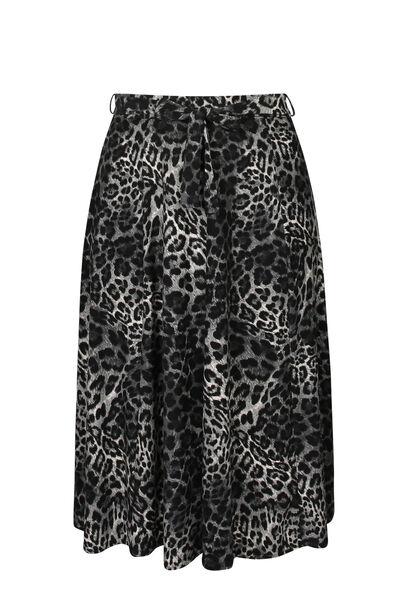 Knielange rok met luipaardprint - Antraciet