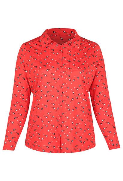 T-shirt in tricot met gitaarprint - Rood