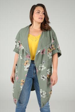 Lange sweaterjas met bloemetjes, Kaki