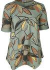 Tuniekshirt in sweaterstof met een bladprint, Kaki