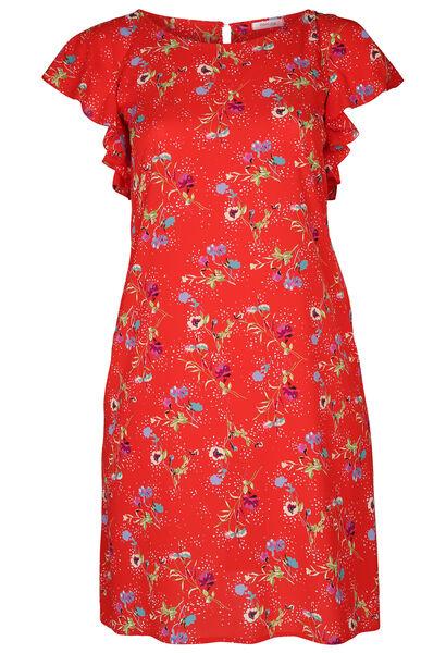 46cbfadce81 Robe en crêpe imprimé fleurs - Rouge - Paprika