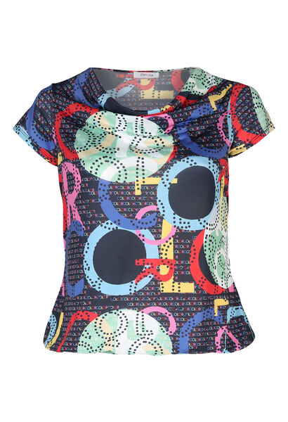 T-shirt maille froide col bénitier - multicolor