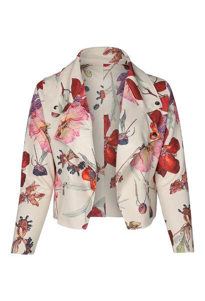 Veste blouson en suédine imprimé fleuri - multicolor