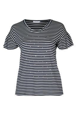 Marine-T-shirt met kralen, Marineblauw