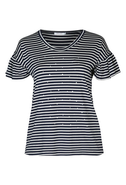 Marine-T-shirt met kralen - Marineblauw