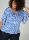T-shirt met gomprint van rozetjes, Bic blauw