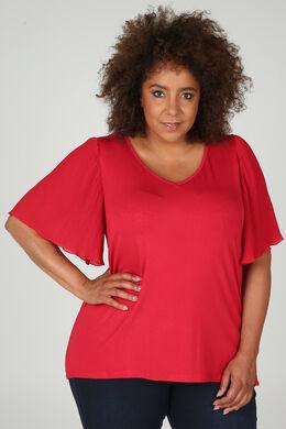 T-shirt met plissémouwtjes in voile, Rood