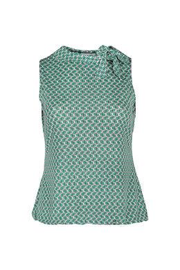 Top met strikkraag, Groen