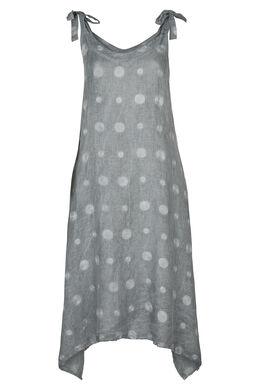 Lange jurk in linnen met geborduurde cirkels, Antraciet