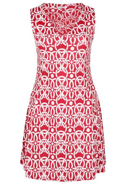 Jurk in tricot met geometrische print - Rood