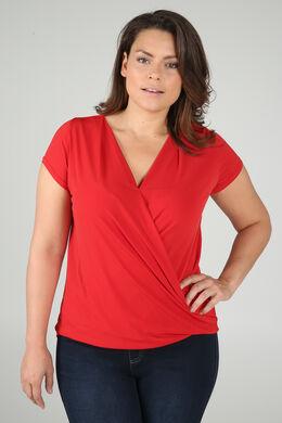 T-shirt met gekruist en gedrapeerd effect, Oranje