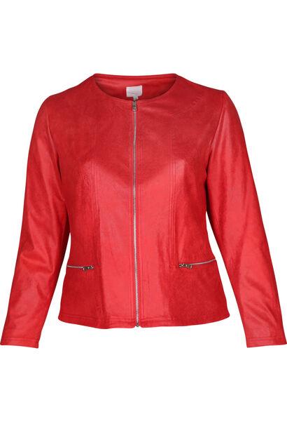 Blouson en faux cuir sauvage - Rouge