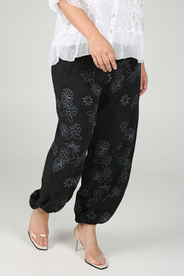 Pantalon fluide imprimé fleuri, Noir