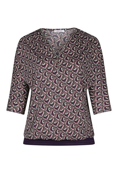 T-shirt imprimé mosaïque col zip - Violet