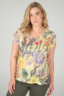 T-shirt tropische print + strassteentjes, Geel