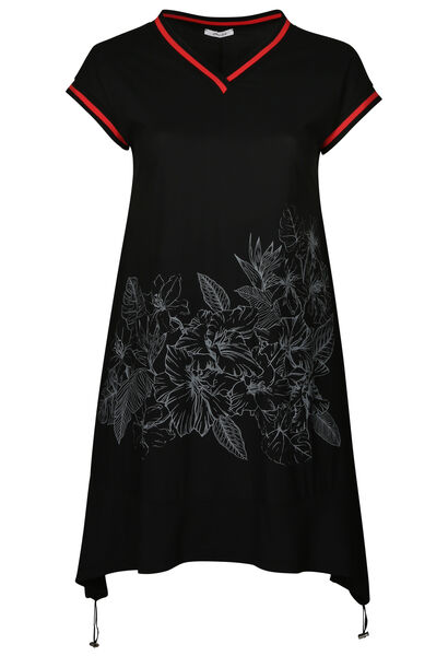 Robe tunique bandes sportswear - Noir