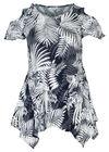 Tunique t-shirt imprimé gomme feuilles, Marine