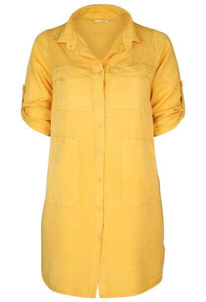 Robe chemise en lyocel uni - Ocre