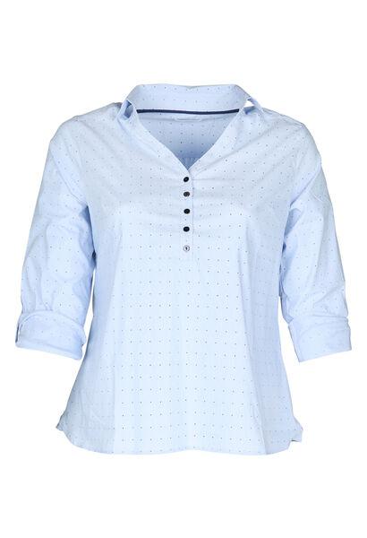 Gestreepte bloes met stipjes - Lichtblauw