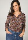 T-shirt met kleine bladprint, Multicolor
