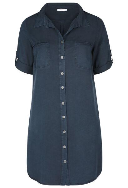 Robe chemise en lyocel - Marine