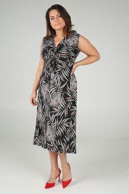 Lange jurk met gomprint van palmbladeren, Zwart