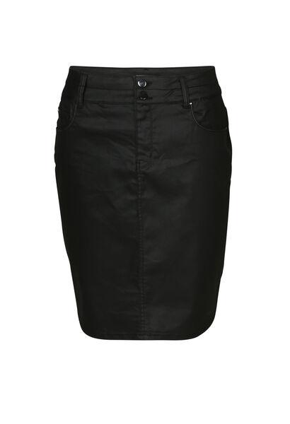 Korte rok in gecoat katoen - Zwart
