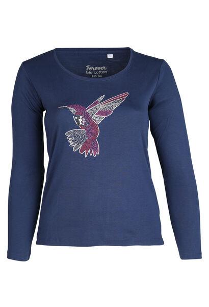 T-shirt in biokatoen met kolibrieprint - Indigo