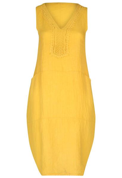 Middenlange jurk in linnen - Geel