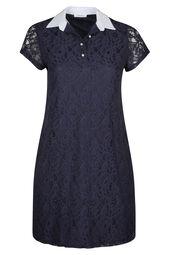Kanten jurk met hemdskraag en kralen