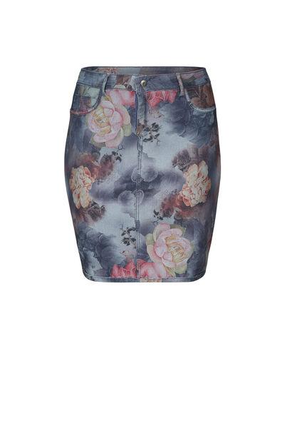 Omkeerbare jeansrok met bloemenprint. - Multicolor