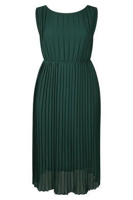 Lange jurk in plissévoile, Donker groen