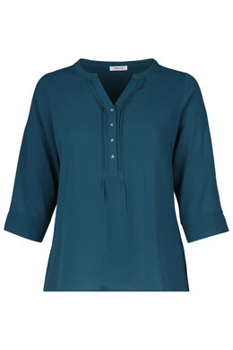 Effen blouse met knoopjeskraag, Emerald groen
