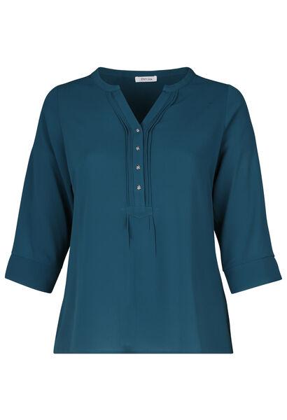 Effen blouse met knoopjeskraag - Emerald groen