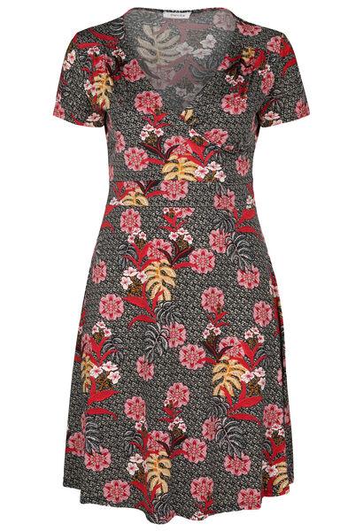 Robe imprimé fleurs tropicales - Noir