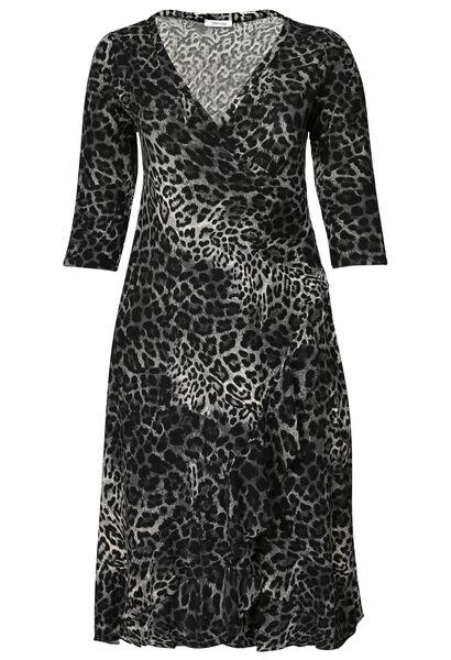 Robe longue imprimé léopard - Anthracite