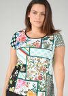 T-shirt in bedrukt tricot en stras, Groen