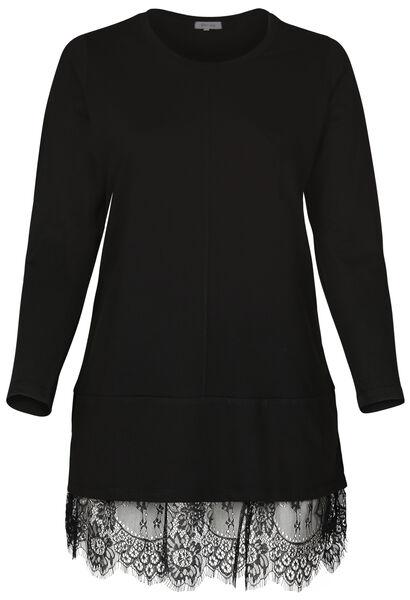 Jurk in tricot met een kanten boord - Zwart