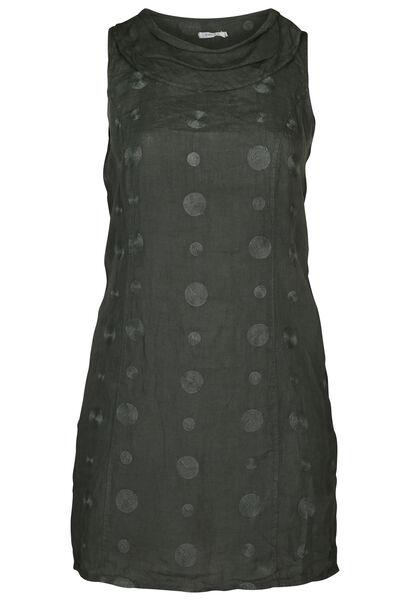 Mouwloze jurk in linnen - Kaki