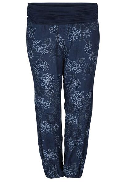 Pantalon fluide imprimé fleurs - Marine