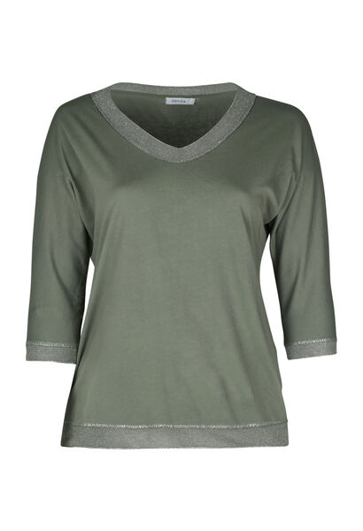 T-shirt encolure bord lurex - Kaki