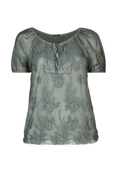 T-shirt en maille dévorée et strass - Kaki