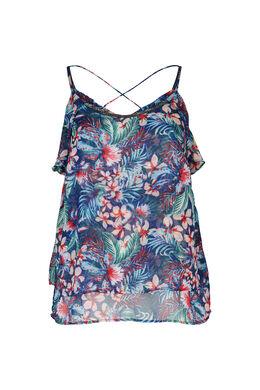 Top met dunne schouderbandjes in voile met tropische print, Bic blauw