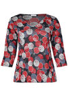 T-shirt met gomprint van cirkels, Rood