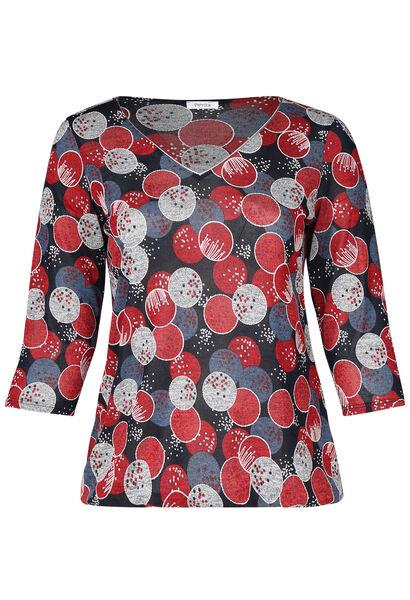 T-shirt met gomprint van cirkels - Rood
