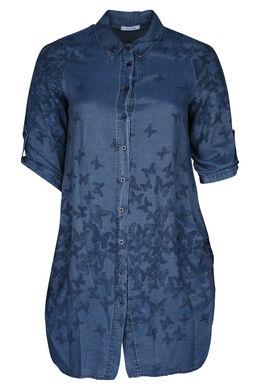 Lang hemd met print, Denim