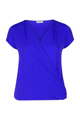 T-shirt met gekruist en gedrapeerd effect, Bic blauw