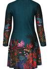 Jurk in warm tricot met tropische print, Emerald groen